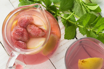 Stewed summer fruits in glass