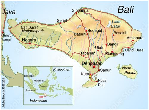 Landkarte von Bali.Indonesien