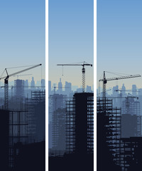 Vertical banner of construction site with cranes and building.