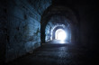 Blue glowing exit from dark abandoned tunnel - 55432255