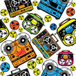 seamless pattern colored reel tape recorder