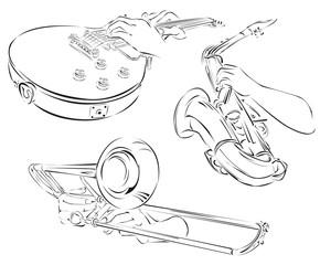 trombone, guitar, saxophone, set of line arts