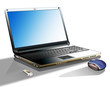 Arbeitsplat mit Laptop, Mouse und USB-Stick