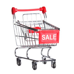 Shopping cart with word SALE, isolated