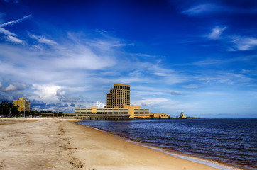 Biloxi, Mississippi, casinos and buildings along Gulf Coast