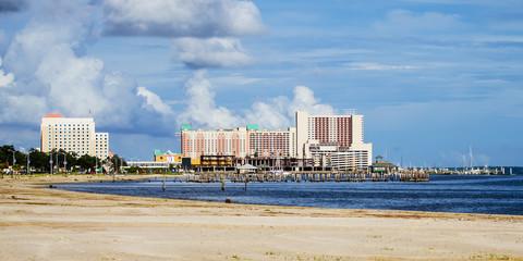 Biloxi, Mississippi, casinos and buildings along Gulf Coast