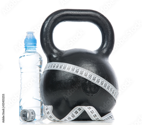 Big black fitness weight with tape measure
