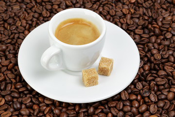 fine espresso in cup on coffee beans