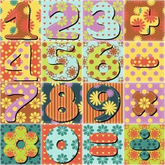 patchwork background with numbers