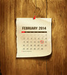Calendar February 2014 on wood background