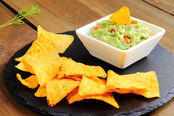 Guacamole with tortilla chips or nachos