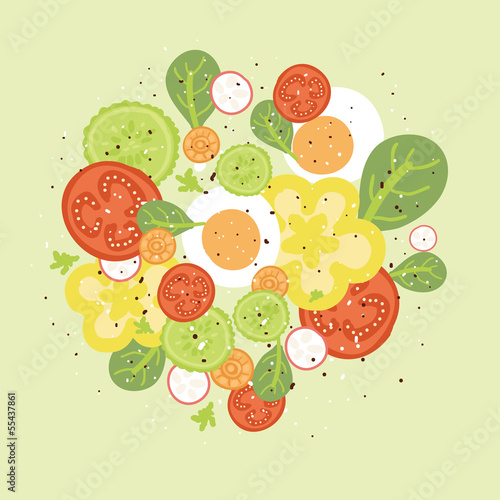 vector fresh salad illustration with hand drawn elements