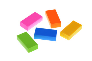 5 isolated colored erasers