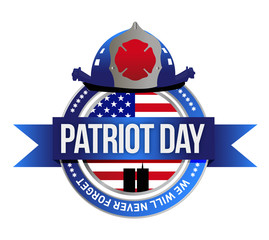 patriot day seal. fire fighters illustration
