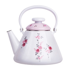 Enameled metal teapot white with pink lid