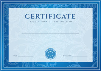 Blue Certificate / Diploma template (design). Floral pattern