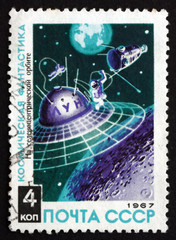 Postage stamp Russia 1967 Space Station Orbiting Moon