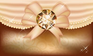 Invitation card with diamond and ribbon, vector