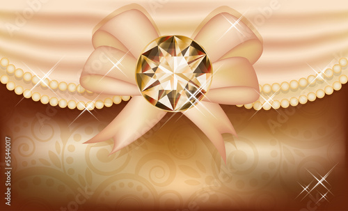 Invitation card with diamond and ribbon, vector