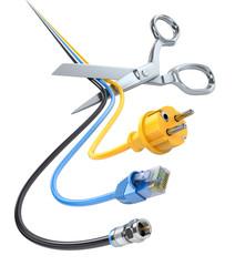 Scissors cutting cables