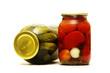 Two jars of salty vegetables
