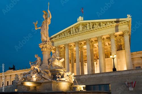 Parlament Vienna at night
