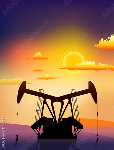 oil rigs on sunset landscape