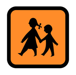 Silhouette Of Children Holding Hands On A Warning Sign