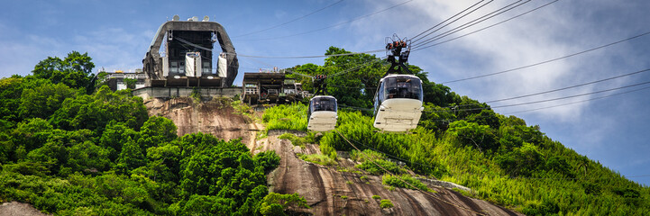 Cable car station on mountain