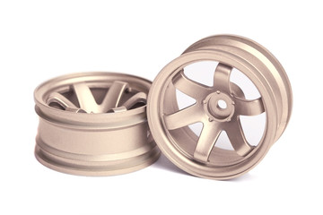 RC golden rim (Volk Racing) isolated on white background