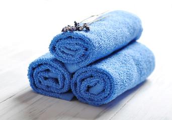 Blue spa towels pile