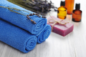 Blue towels and lavender flowers