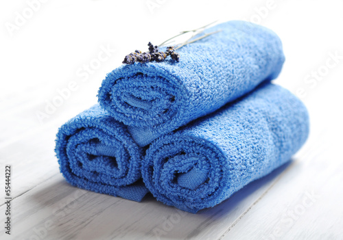 Blue spa towels pile