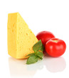 Cheese,basil and tomato isolated on white