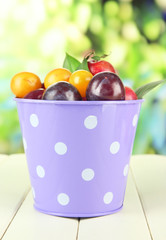 Ripe plums in pail on wooden table on natural background