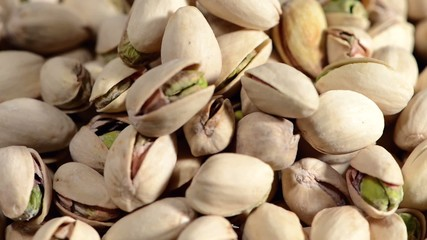 Heap of rotating Pistachios