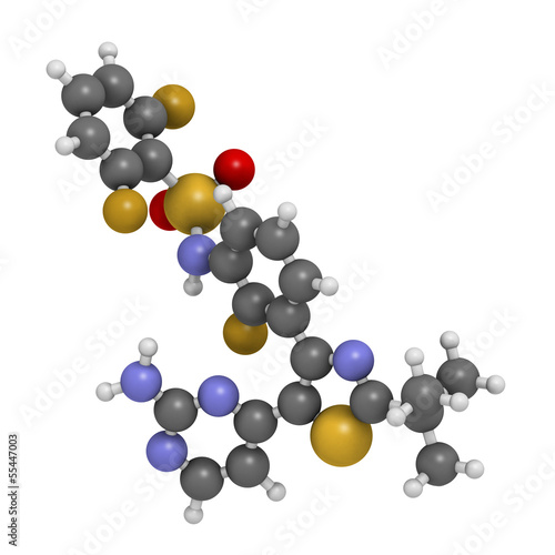 Dabrafenib melanoma cancer drug, chemical structure.