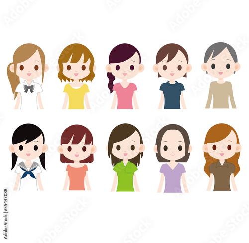 カラフルな髪色の女性 10人