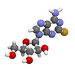 Fludarabine blood cancer drug, chemical structure.