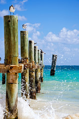 Old pier on the Caribbean sea