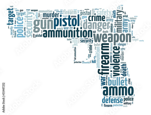 Words illustration of a gun over white background