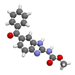 Mebendazole anthelmintic drug, chemical structure.