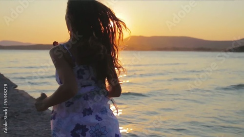 Young Woman Running Ocean Sun Flare Sunset Dusk Pier HD