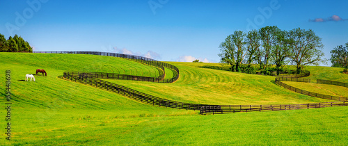 Leinwanddruck Bild Horse farm fences