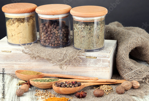 Foto op Plexiglas Kruiden 2 Assortment of spices in wooden spoons and glass jars,