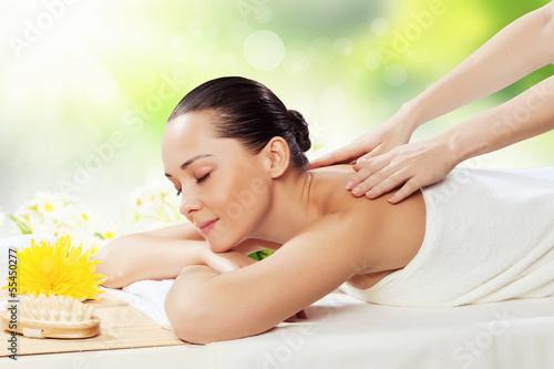 Girl at spa massage