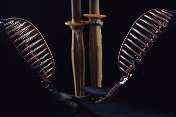 Kendo, dark background, horizontal shot