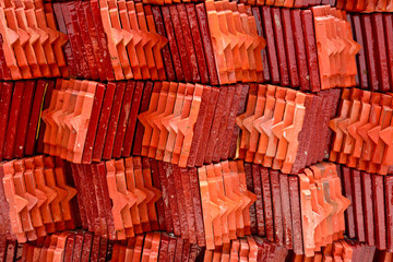 roof tile stack of thai temple