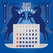 Постер, плакат: Шаблон календаря Календарь 2014 года Январь