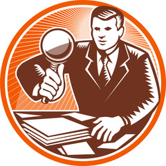 Businessman Magnifying Glass Looking Documents